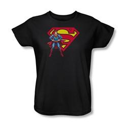 Superman - Superman & Logo Womens T-Shirt In Black