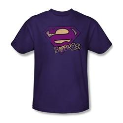 Superman - Bizzaro Logo Distressed Adult T-Shirt In Purple
