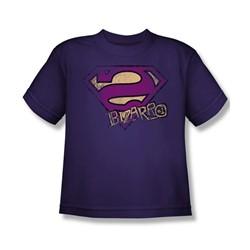 Superman - Bizzaro Logo Distressed Big Boys T-Shirt In Purple