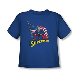 Superman - American Flag Toddler T-Shirt In Royal