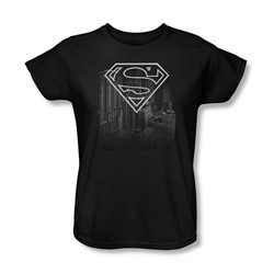 Superman - Skyline Womens T-Shirt In Black