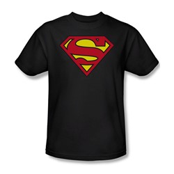 Superman - Classic Superman Logo Adult T-Shirt In Black