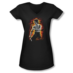 Bruce Lee - Juniors Dragon Fire V-Neck T-Shirt