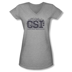 Csi - Juniors Distressed Logo V-Neck T-Shirt