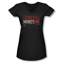 Criminal Minds - Juniors Title Card V-Neck T-Shirt