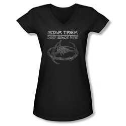 Star Trek - Juniors Ds9 Station V-Neck T-Shirt