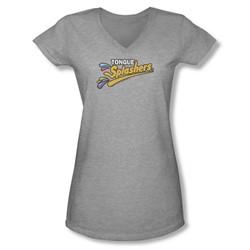 Dubble Bubble - Juniors Tongue Splashers Logo V-Neck T-Shirt