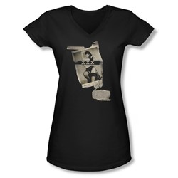 Bettie Page - Juniors Newspaper & Lace V-Neck T-Shirt