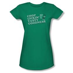 Puss N Boots - Juniors Chop Lickin Tasty Goodness Sheer T-Shirt