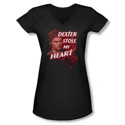 Dexter - Juniors Bloody Heart V-Neck T-Shirt
