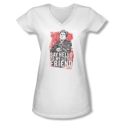Scarface - Juniors Little Friend V-Neck T-Shirt