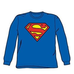 Superman - Classic Logo - Adult Royal L/S T-Shirt For Men
