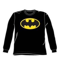 Batman - Classic Logo - Adult Black L/S T-Shirt For Men