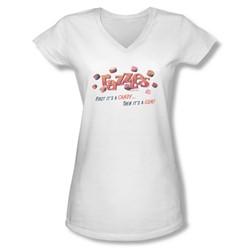 Dubble Bubble - Juniors A Gum And A Candy V-Neck T-Shirt
