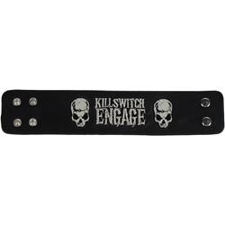 Killswitch Engage - Logo Skulls Leather Cuff In Black