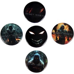 Disturbed - 5 Piece Button Pack Buttons In Black