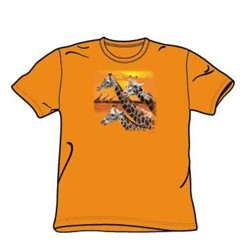 Giraffes - Adult Orange S/S T-Shirt For Men