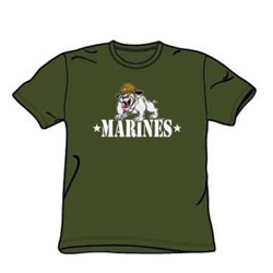 Marines - Bulldog Mascot - Adult Military Green S/S T-Shirt For Men