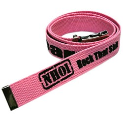 Never Heard Of It Pink Belt.  Features Black NHOI Logo.