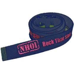 Never Heard of It (NHOI)- Blue Belt. Features Pink NHOI Logo