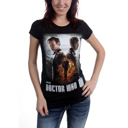 Dr. Who - Womens Day Of The Doctor Poster T-Shirt in Black