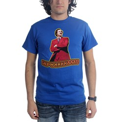 Anchorman - Mens Say Whaaat T-Shirt in Royal Blue