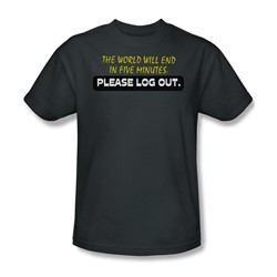 Please Log Out - Mens T-Shirt In Charcoal