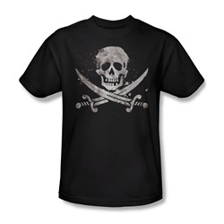 Funny Tees - Mens Distressed Jolly Roger T-Shirt