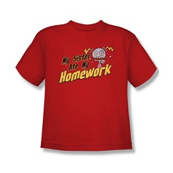 My Sister Ate My Homework - Big Boys T-Shirt In Red