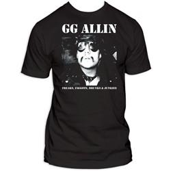 Gg Allin Freaks, Faggots, Drunks, And Junkies Adult T-Shirt