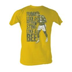 Muhammad Ali - Like A Bee Mens T-Shirt In Mustard