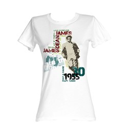 James Dean - Dean Typography Womens T-Shirt In White
