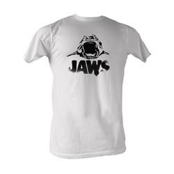 Jaws - Black Logo Mens T-Shirt In White