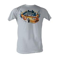 Fast & Furious - Orange Car Mens T-Shirt In Silver