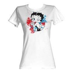 Betty Boop - Red,White, And Blue Womens T-Shirt In White