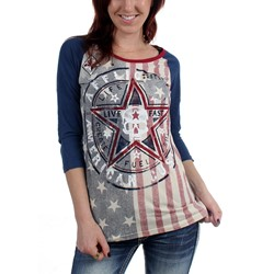 Affliction - Womens American Dream 3/4 Slv Raglan Baseball T-Shirt