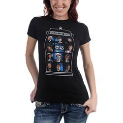 Dr. Who - Womens 5O Years 11 Doctors T-Shirt in Black