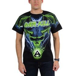 Overkill - Mens Allover Blue Batwing Skull T-Shirt