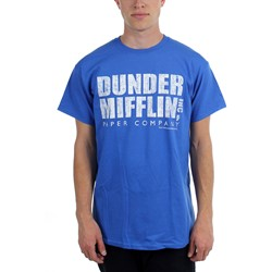 Office, The - Mens Dunder Mifflin Distressed T-Shirt in Blue