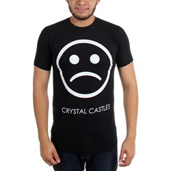 Crystal Castles - Mens Sad Face on Black  T-Shirt