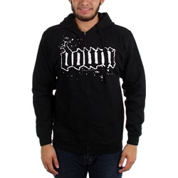 Down - Mens Brotherhood Zip Hoodie in Black