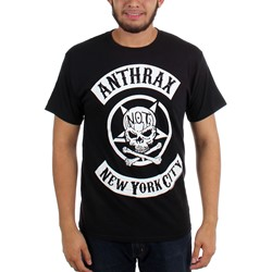 Anthrax - Mens Biker Skull T-shirt in Black