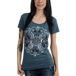 Project Iris - Womens Flower Filigree Scoop Neck T-Shirt