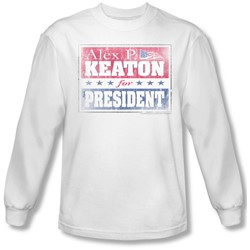 Family Ties - Mens Alex For President Long Sleeve Shirt In White
