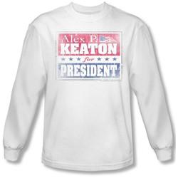 Family Ties - Mens Alex For President Long Sleeve Shirt In White