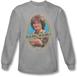 Mork & Mindy - Mens Nanu Nanu Long Sleeve Shirt In Heather