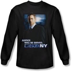 Csi:Ny - Mens Justice Served Long Sleeve Shirt In Black