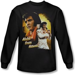 Elvis Presley - Mens Aloha Long Sleeve Shirt In Black