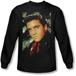 Elvis Presley - Mens Red Scarf Long Sleeve Shirt In Black