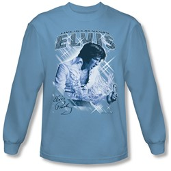 Elvis Presley - Mens Blue Vegas Long Sleeve Shirt In Carolina Blue
